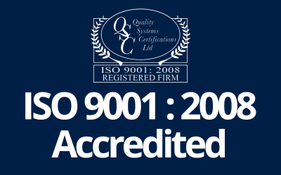 We are now ISO 9001-2008 Accredited